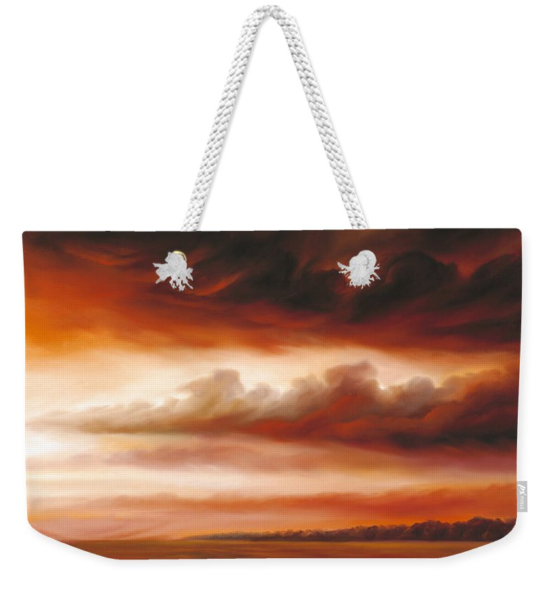 Contemporary Weekender Tote Bag featuring the painting Black Fire by James Christopher Hill