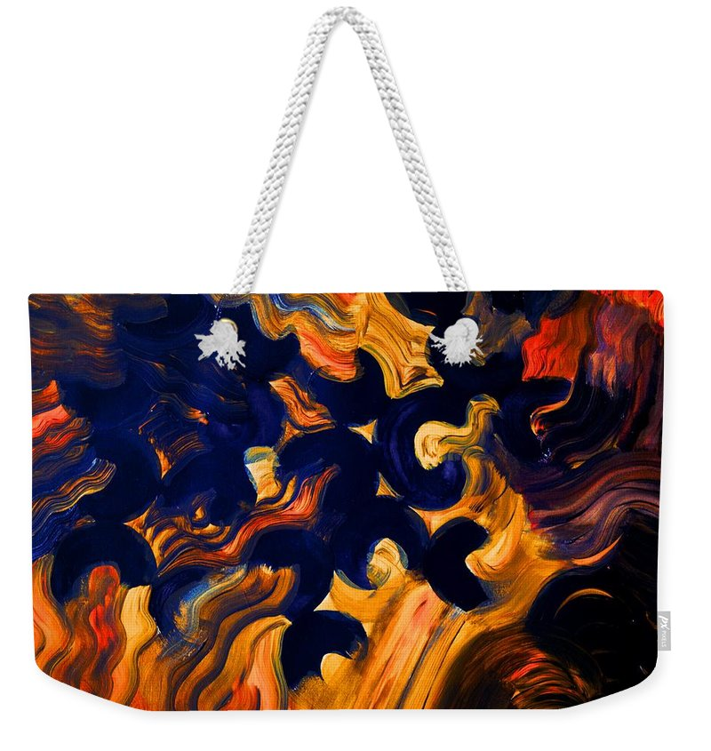 Abstract Weekender Tote Bag featuring the painting Black Fire by Valerie Dauce