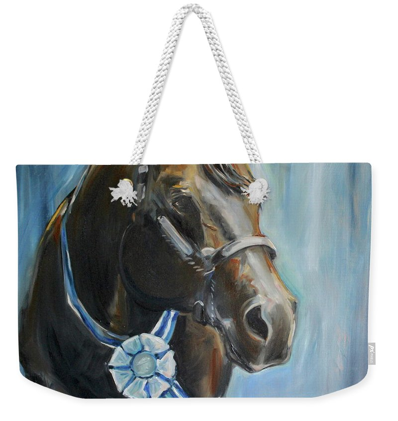 Black Horse Weekender Tote Bag featuring the painting Black Horse Blue Ribbon by Maria Reichert
