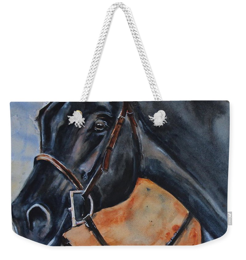 Black Horse Weekender Tote Bag featuring the painting Black Horse Head by Maria Reichert