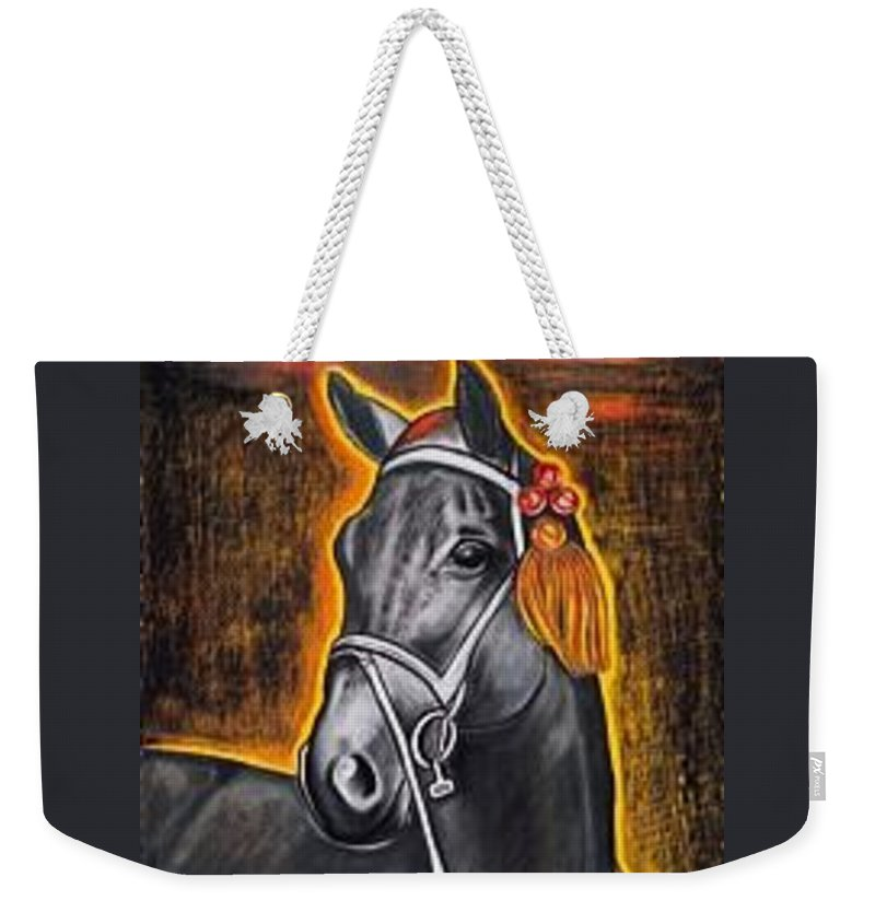 Horse Weekender Tote Bag featuring the painting Black Horse by Isabell Von Piotrowski
