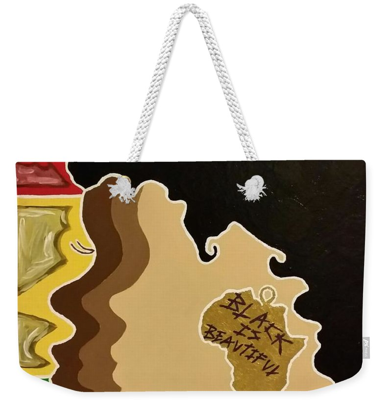 Black Weekender Tote Bag featuring the painting Black Is Beautiful by Lakeesha Mitchell