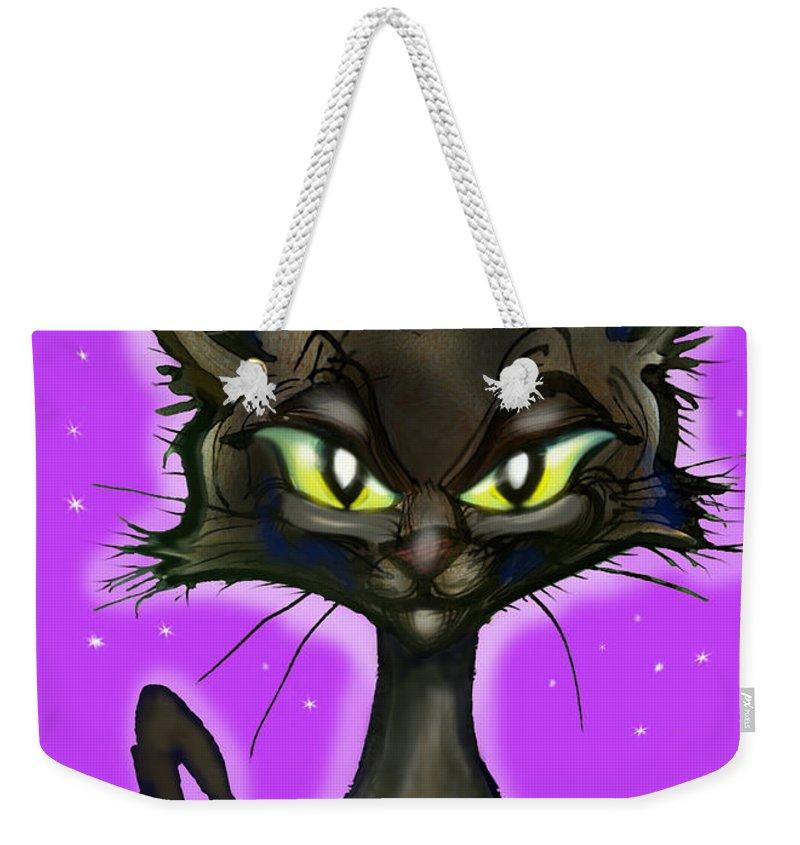 Black Kitten Weekender Tote Bag featuring the painting Black Kitten by Kevin Middleton