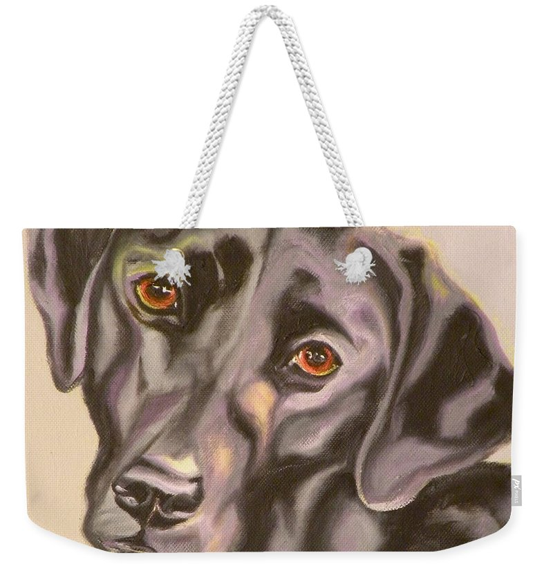 Giclee Weekender Tote Bag featuring the painting Black Lab Aint No Cure For Love by Susan A Becker
