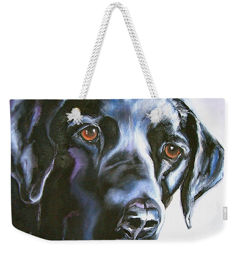 Dogs Weekender Tote Bag featuring the painting Black Lab No Ordinary Love by Susan A Becker