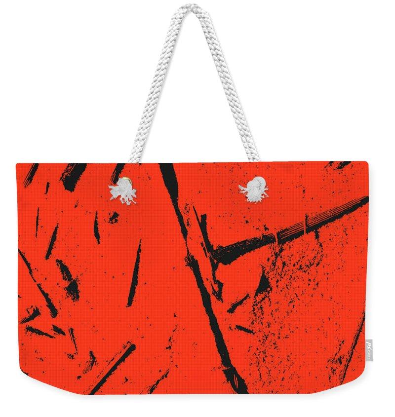 Weekender Tote Bag featuring the digital art Black On Red by Iris Posner