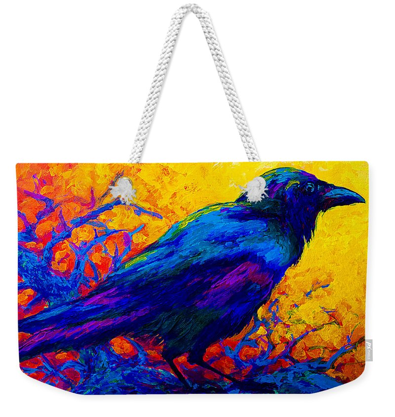 Crows Weekender Tote Bag featuring the painting Black Onyx - Raven by Marion Rose