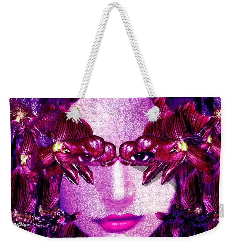 Oriental Weekender Tote Bag featuring the digital art Black Orchid Eyes by Seth Weaver