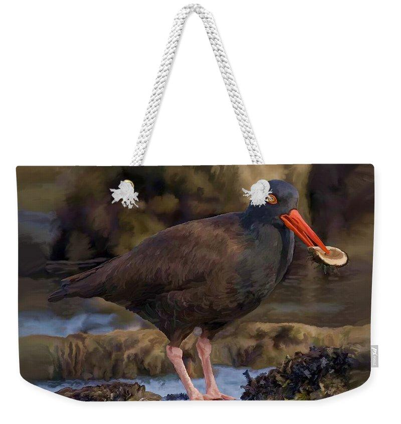 Black Oyster Catcher Weekender Tote Bag featuring the painting Black Oyster Catcher by David Wagner