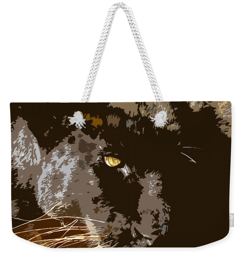 Black Panther Weekender Tote Bag featuring the painting Black Panther by David Lee Thompson