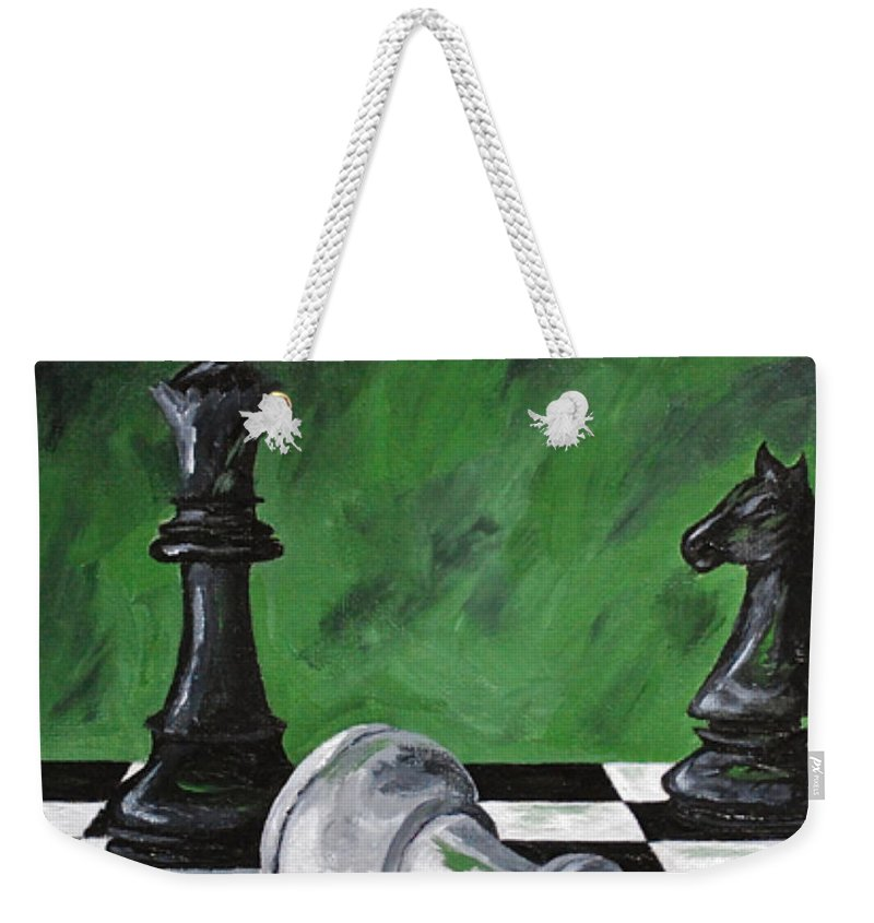 Chess Kids Games Chess Game Queen King Weekender Tote Bag featuring the painting Black Queen by Herschel Fall