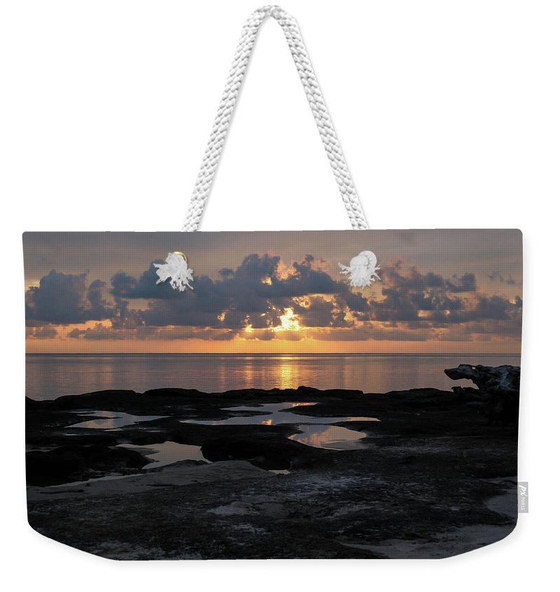 Sunrise Weekender Tote Bag featuring the photograph Black Rock Beach Sunrise by Timothy Cummiskey
