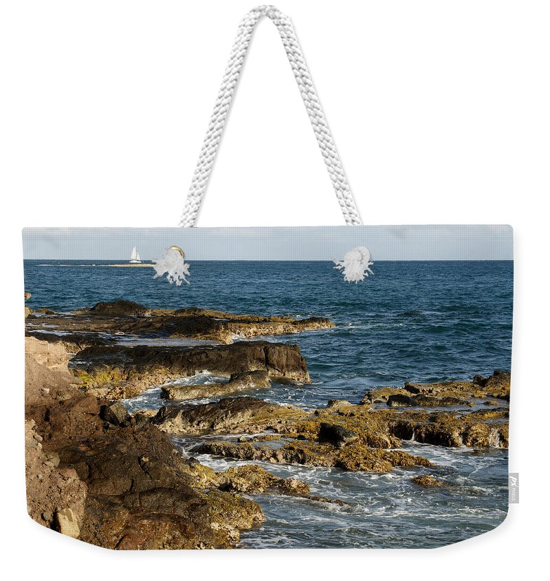 Sailboat Weekender Tote Bag featuring the photograph Black Rock Point And Sailboat by Jean Macaluso