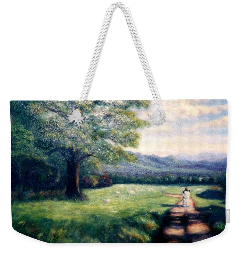 Christian Weekender Tote Bag featuring the painting Black Sheep by Gail Kirtz