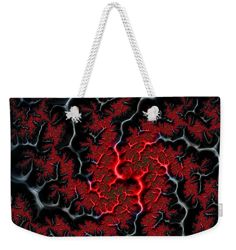 Veins Weekender Tote Bag featuring the digital art Black Veins Red Blood Abstract Fractal Art by Matthias Hauser