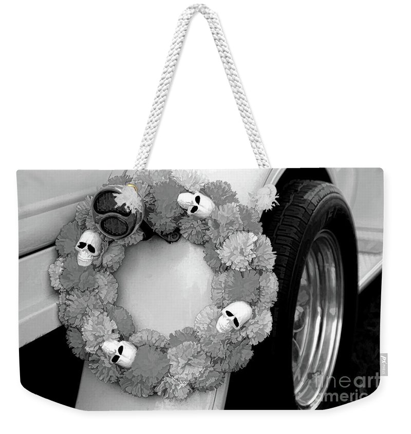 Dia De Los Muertos Weekender Tote Bag featuring the photograph Black White Skulls Classic Car by Chuck Kuhn