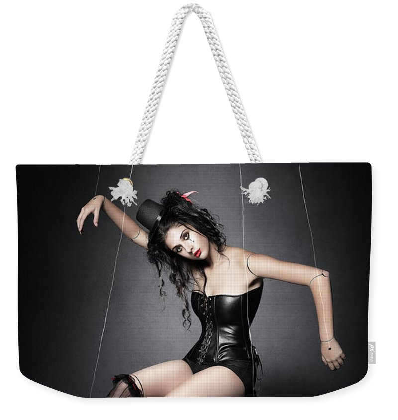 Marionette Weekender Tote Bag featuring the photograph Black Widow Marionette Puppet by Johan Swanepoel