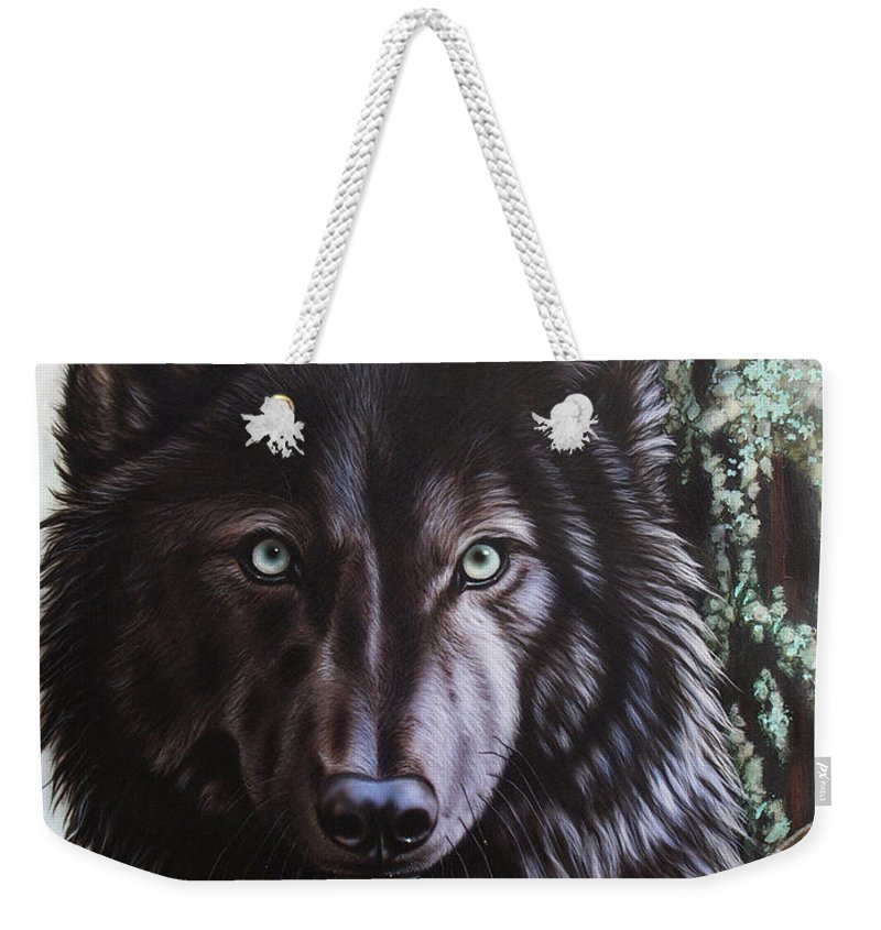 Wolves Weekender Tote Bag featuring the painting Black Wolf by Sandi Baker