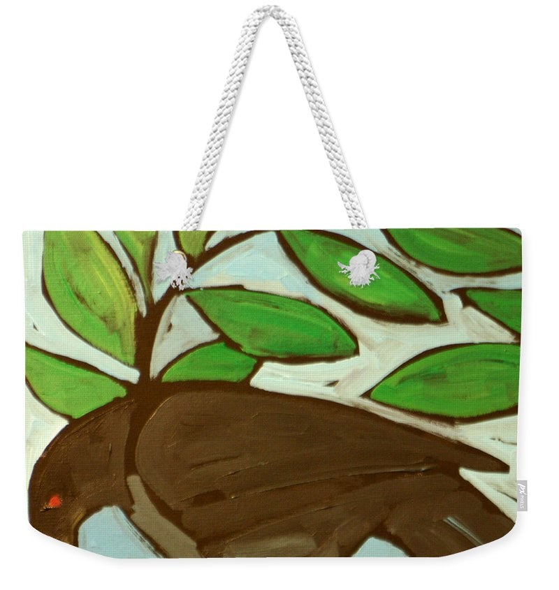Bird Weekender Tote Bag featuring the painting Blackbird by Tim Nyberg