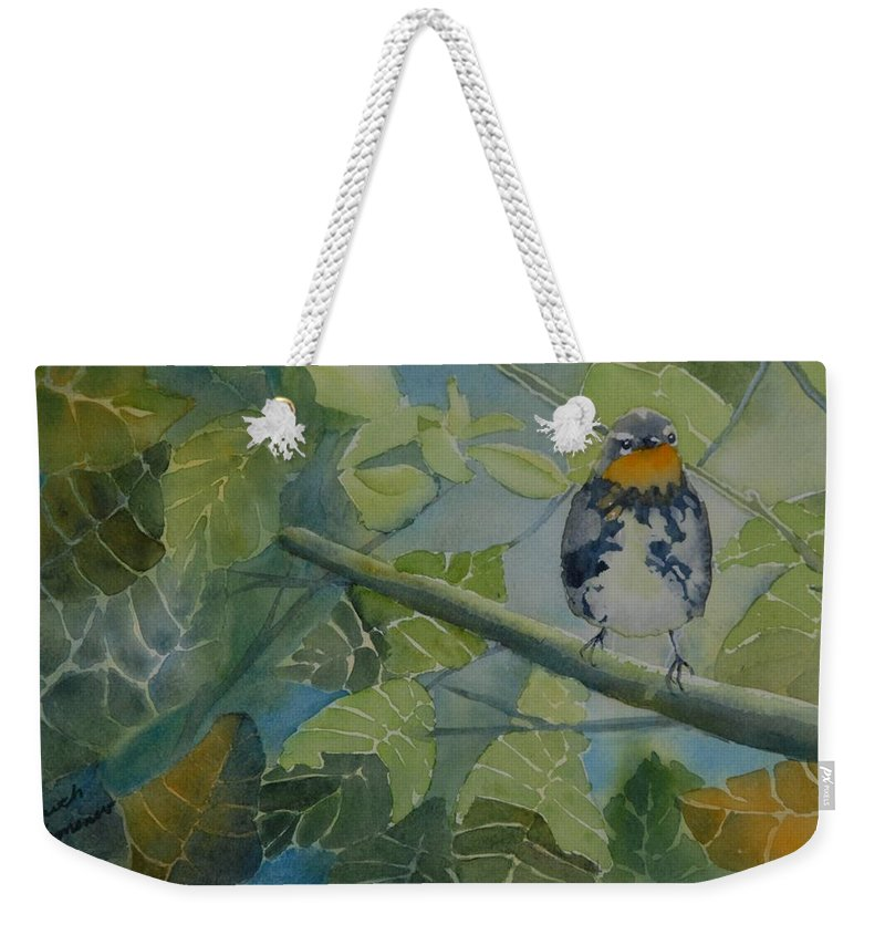 Bird Weekender Tote Bag featuring the painting Blackburnian Warbler I by Ruth Kamenev