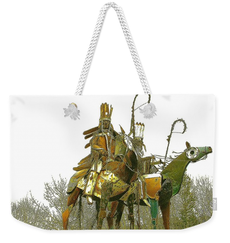 Native American Weekender Tote Bag featuring the photograph Blackfeet Wariors by Nelson Strong