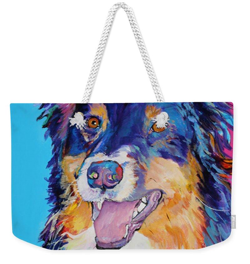Dog Weekender Tote Bag featuring the painting Blackjack by Pat Saunders-White