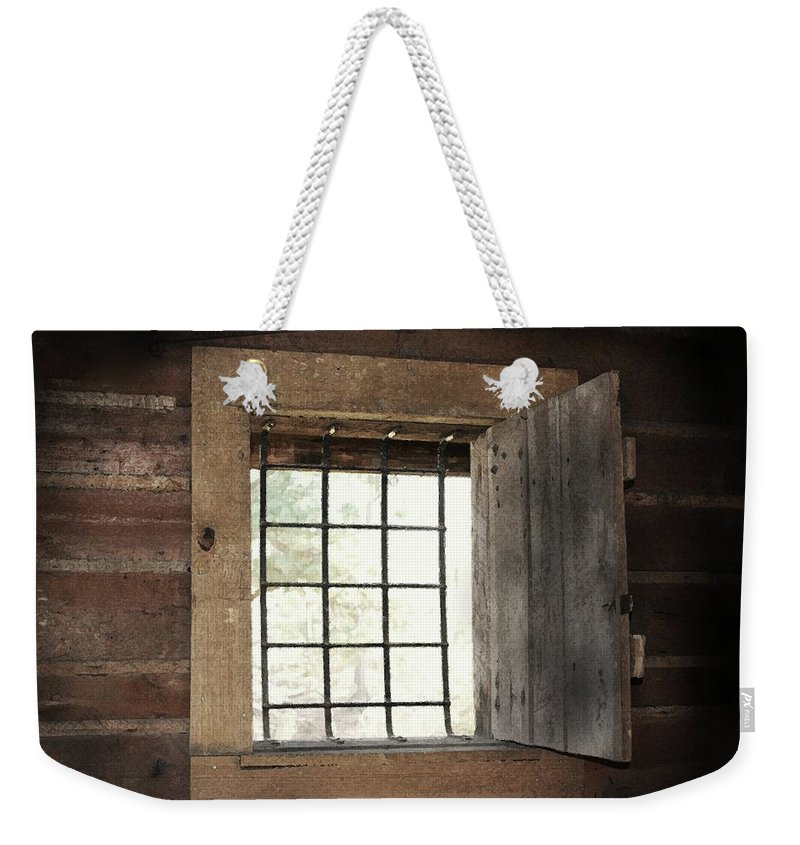 Primitive Photograph Weekender Tote Bag featuring the photograph Blacksmith's View by Kim Henderson