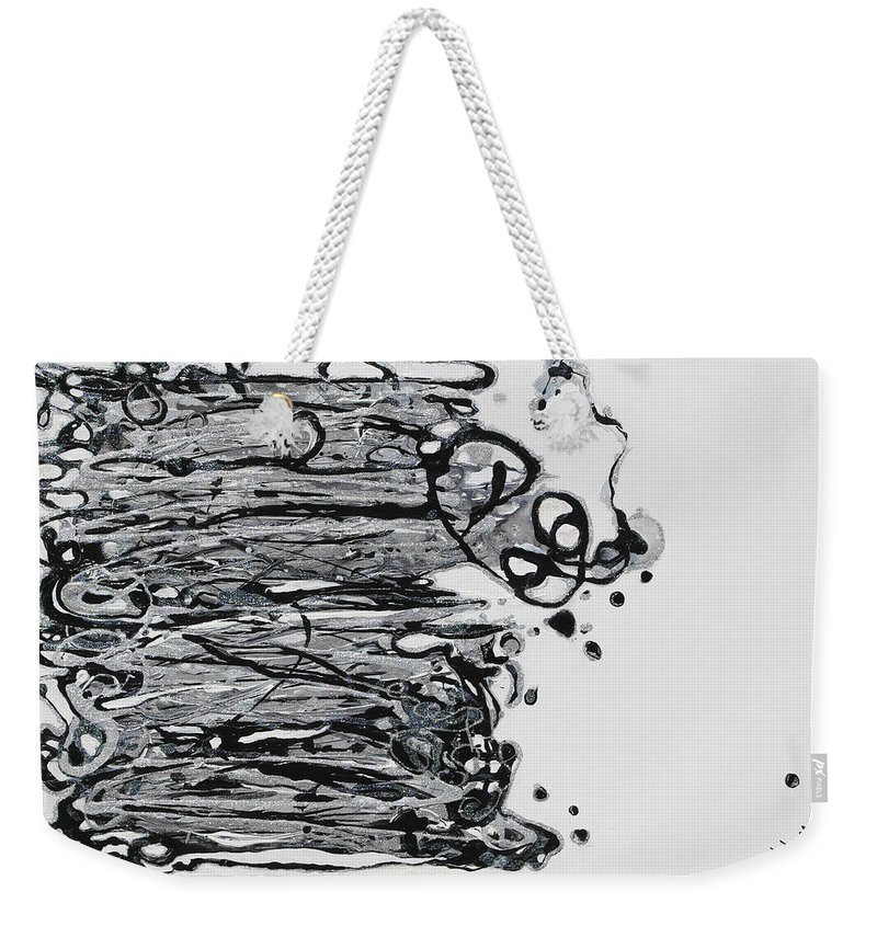 Black And Silver Weekender Tote Bag featuring the painting Blacksparkledance by Jewells Jones