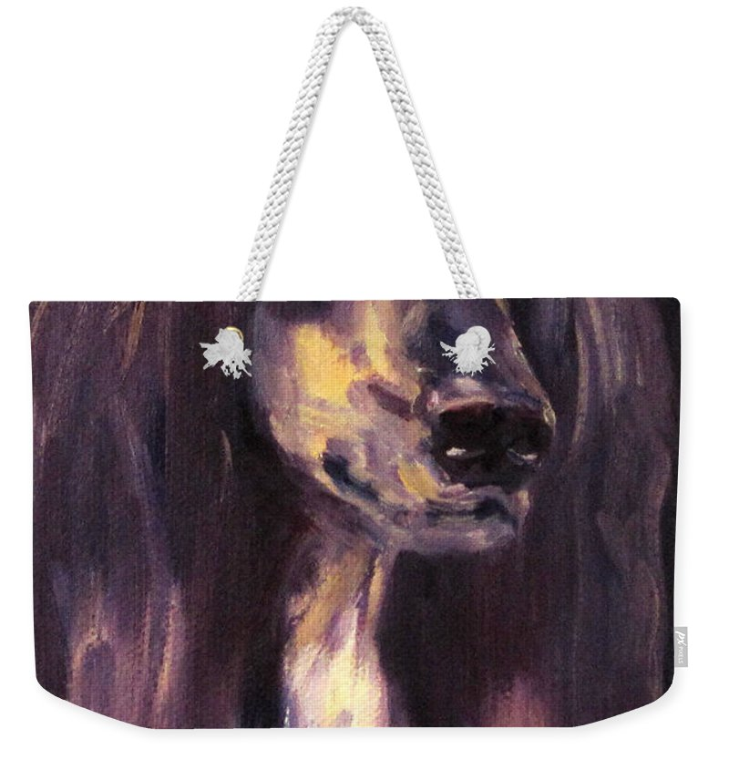 Afghan Hound Sighthound Dog Pet Portrait Oil Weekender Tote Bag featuring the painting Blade by Terry Chacon