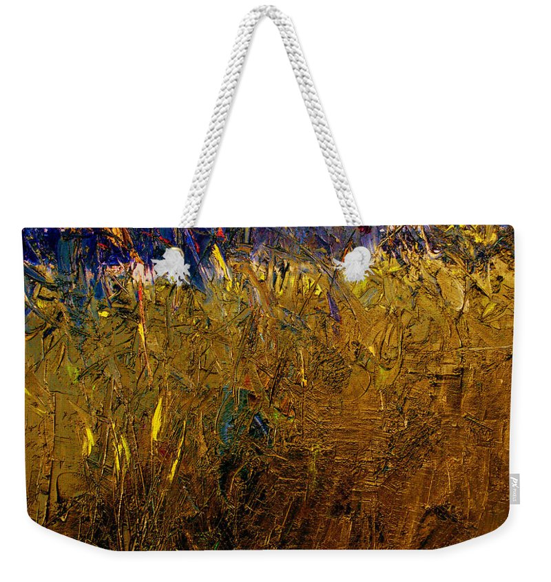 Abstract Weekender Tote Bag featuring the painting Blades Of Grass by Ruth Palmer