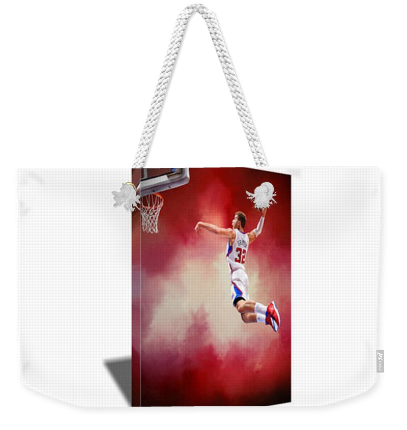 Blake Griffin Weekender Tote Bag featuring the painting Blake Griffin Canvas Art by Art-Wrench Com