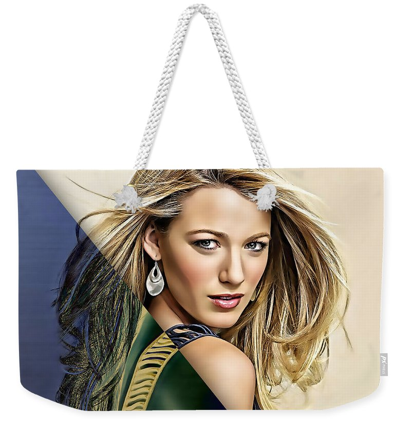 Blake Lively Weekender Tote Bag featuring the mixed media Blake Lively Collection by Marvin Blaine