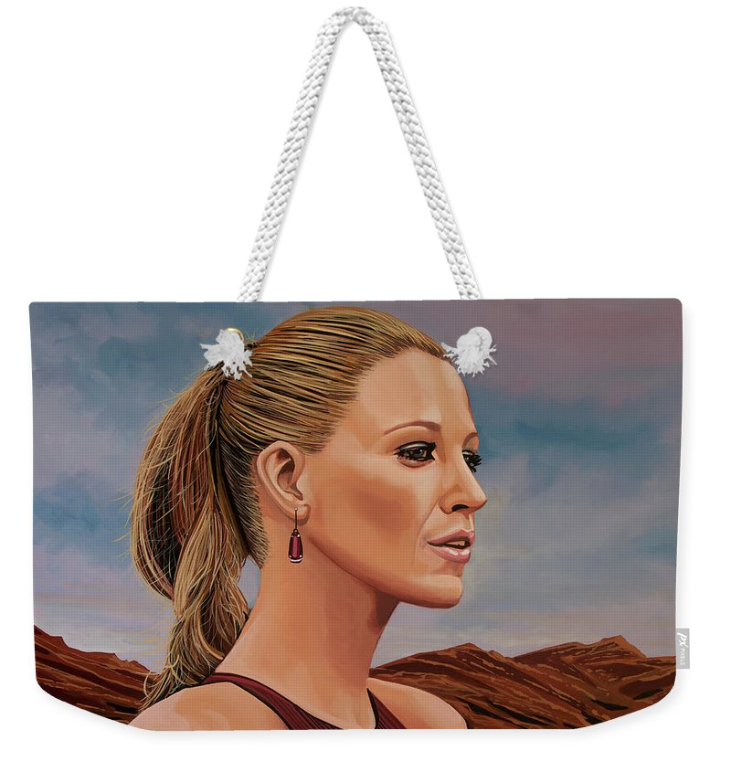 Blake Lively Weekender Tote Bag featuring the painting Blake Lively Painting by Paul Meijering