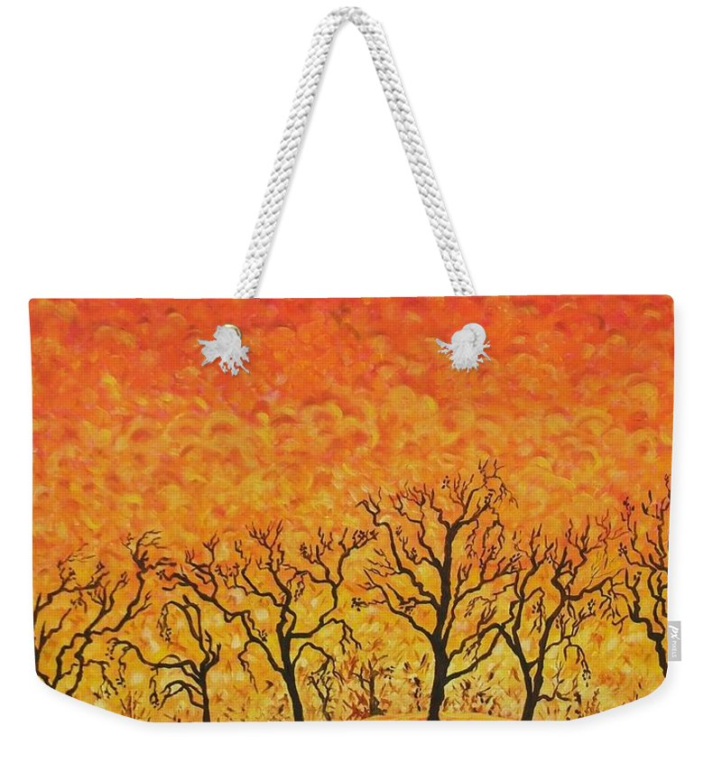 Fire Weekender Tote Bag featuring the painting Blaze by Caroline Street
