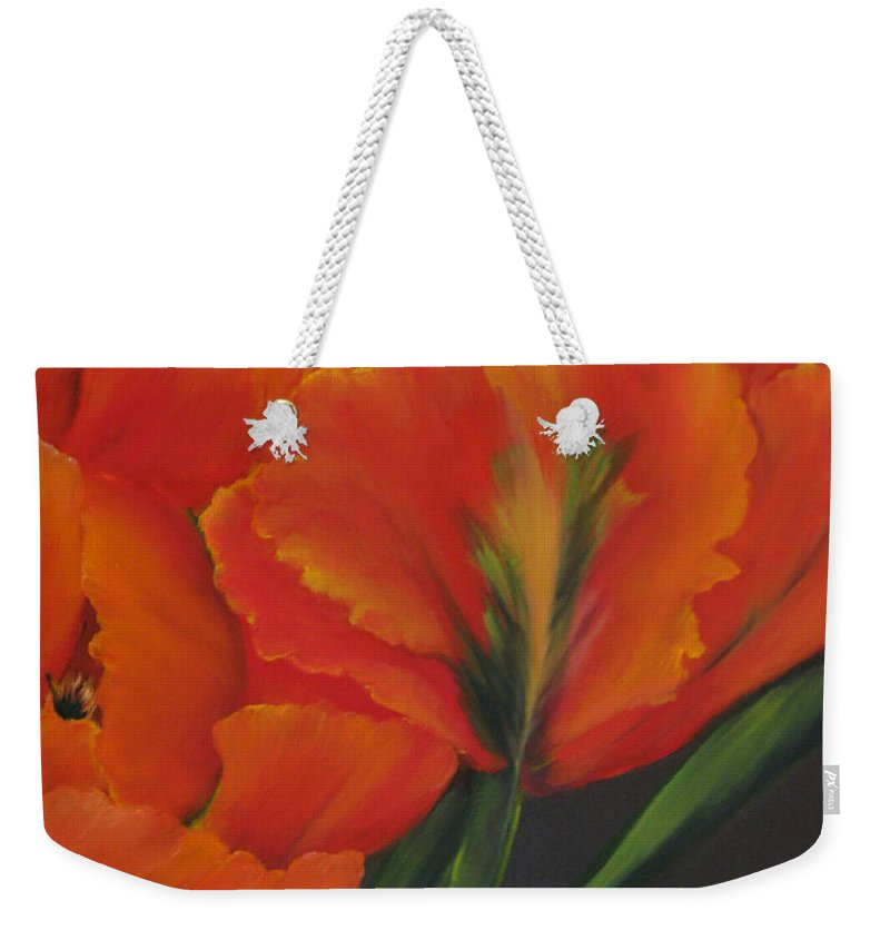 Tulips Weekender Tote Bag featuring the painting Blaze Of Glory by Carol Sweetwood