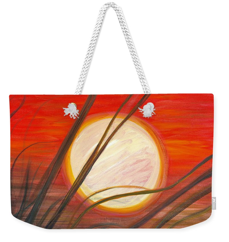 Sunrise Weekender Tote Bag featuring the painting Blazing Sun And Wind-blown Grasses by Nadine Rippelmeyer
