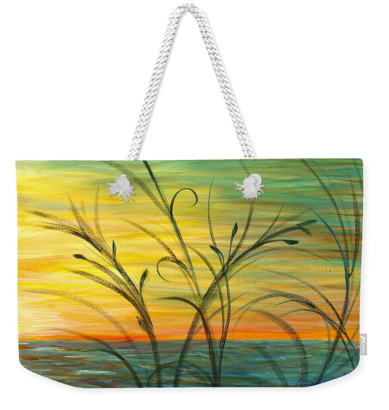 Blue Weekender Tote Bag featuring the painting Blazing Sunrise And Grasses In Blue by Nadine Rippelmeyer