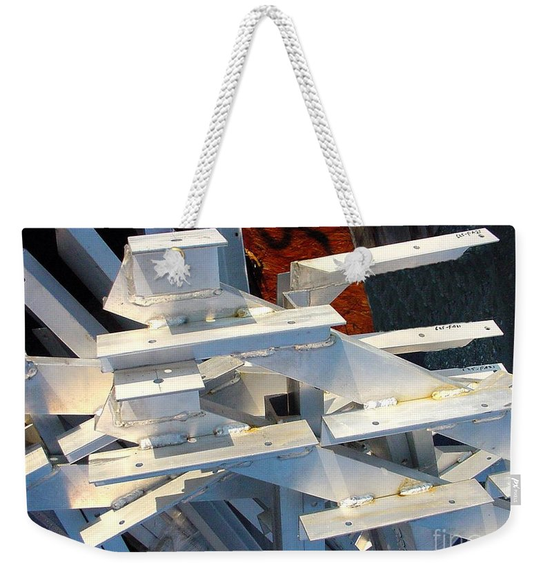 Digital Weekender Tote Bag featuring the photograph Bleacher Unassembled by Ron Bissett