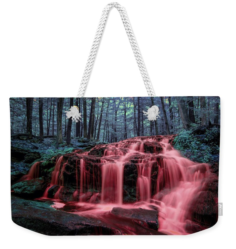 Blood Falls Rain In Blood Reign Red Water Fall Waterfall Infrared Ir Full Spectrum Full-spectrum Fullspectrum Milford Nh New Hampshire Nature Color Colour Colorful Colourful Bleeding Tucker Brook Forest Woods Weekender Tote Bag featuring the photograph Bleeding Falls 2 by Brian Hale