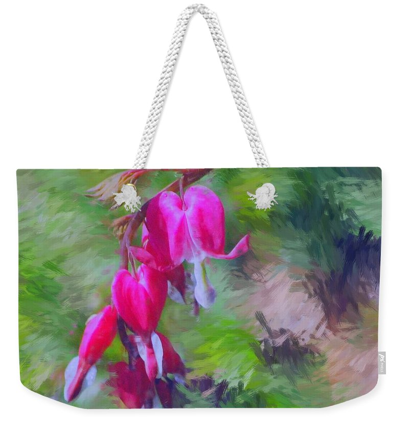 Daffodil Weekender Tote Bag featuring the photograph Bleeding Heart by David Lane