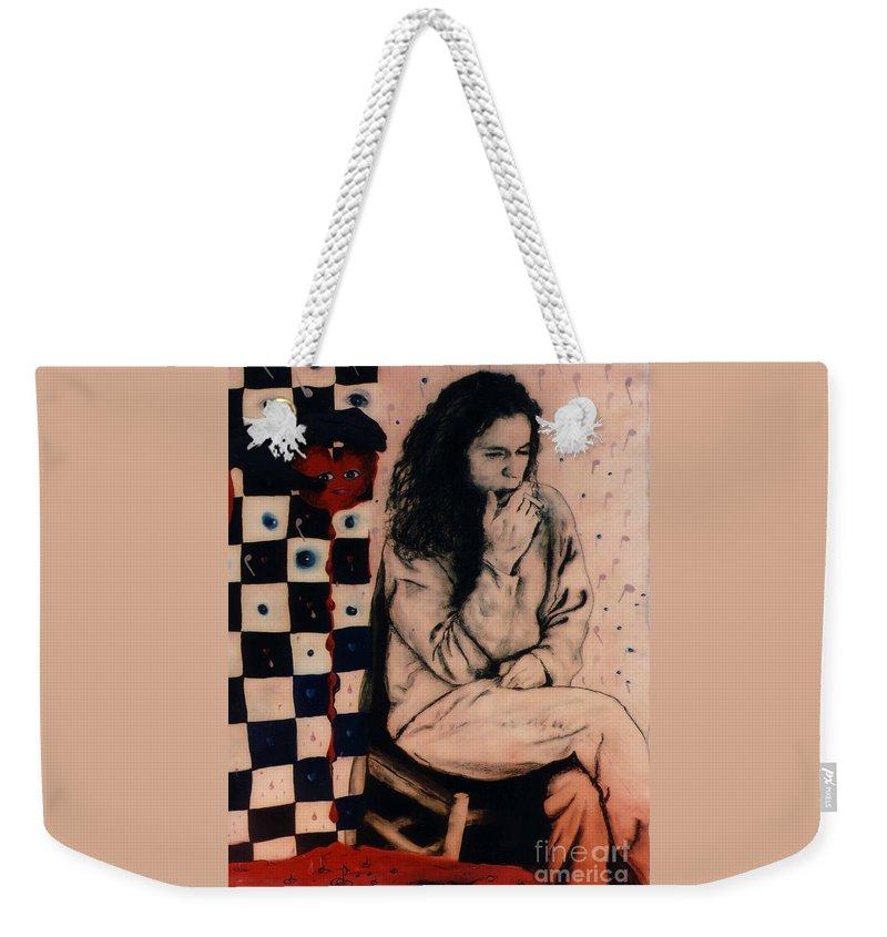 Oil Painting Weekender Tote Bag featuring the painting Bleeding Heart by Karen Henninger