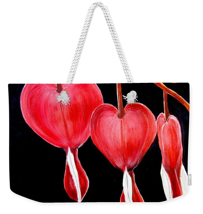 Bleeding Hearts Weekender Tote Bag featuring the painting Bleeding Hearts by Carol Blackhurst