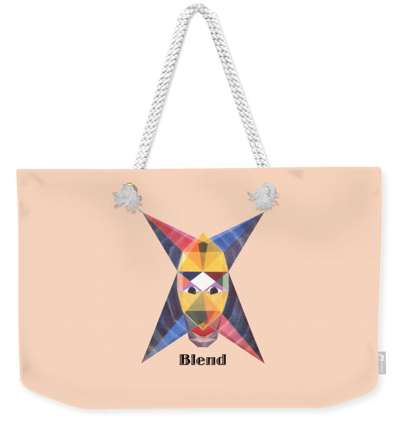 Painting Weekender Tote Bag featuring the painting Blend text by Michael Bellon
