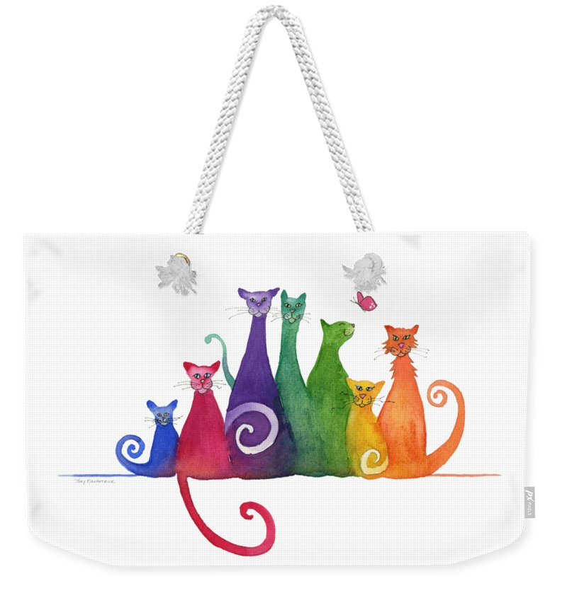 Blended Family Weekender Tote Bag featuring the painting Blended Family Of Seven by Amy Kirkpatrick