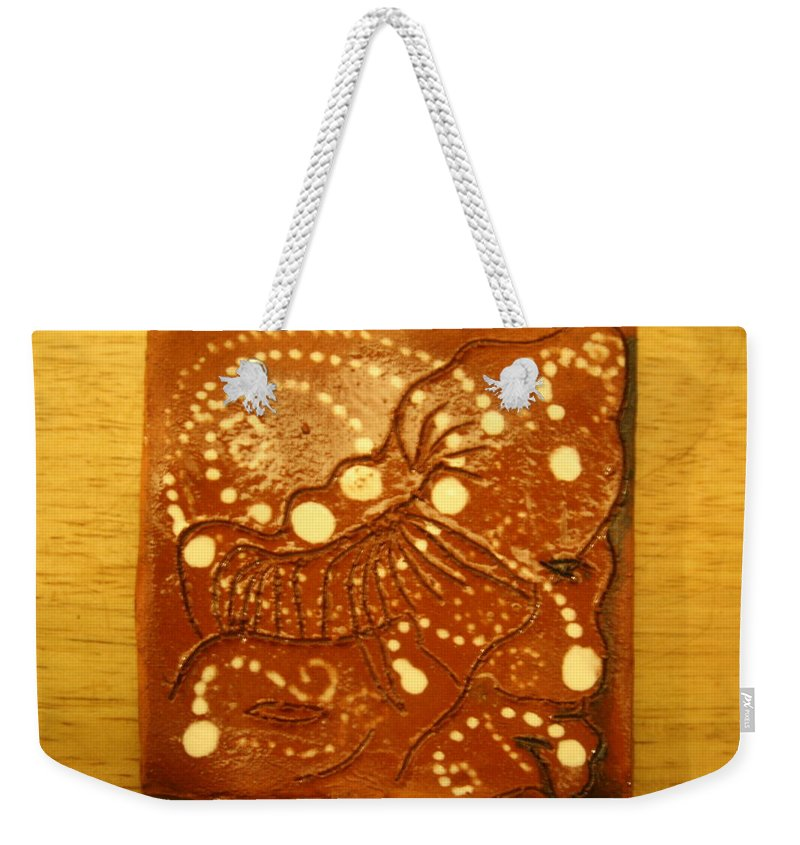 Jesus Weekender Tote Bag featuring the ceramic art Bless - Tile by Gloria Ssali