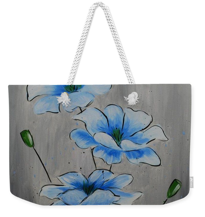 Flower Weekender Tote Bag featuring the painting Bleuming by Emily Page