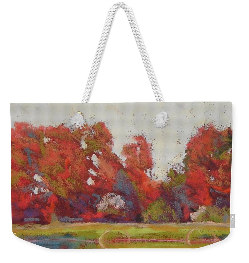 Landscape Weekender Tote Bag featuring the painting Bliss Evening by Mary McInnis