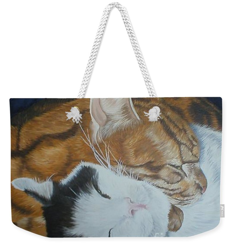 Cats Tabby Black White Jonah Jake Pinned Weekender Tote Bag featuring the painting Blissful Slumber by Pauline Sharp