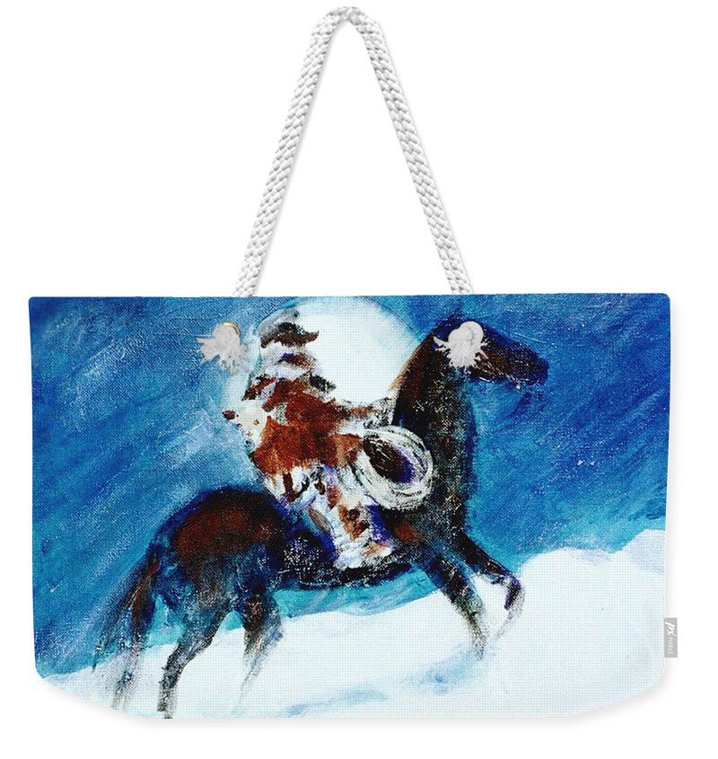 Blizzard Moon Weekender Tote Bag featuring the painting Blizzard Moon-The Last Stray by Seth Weaver