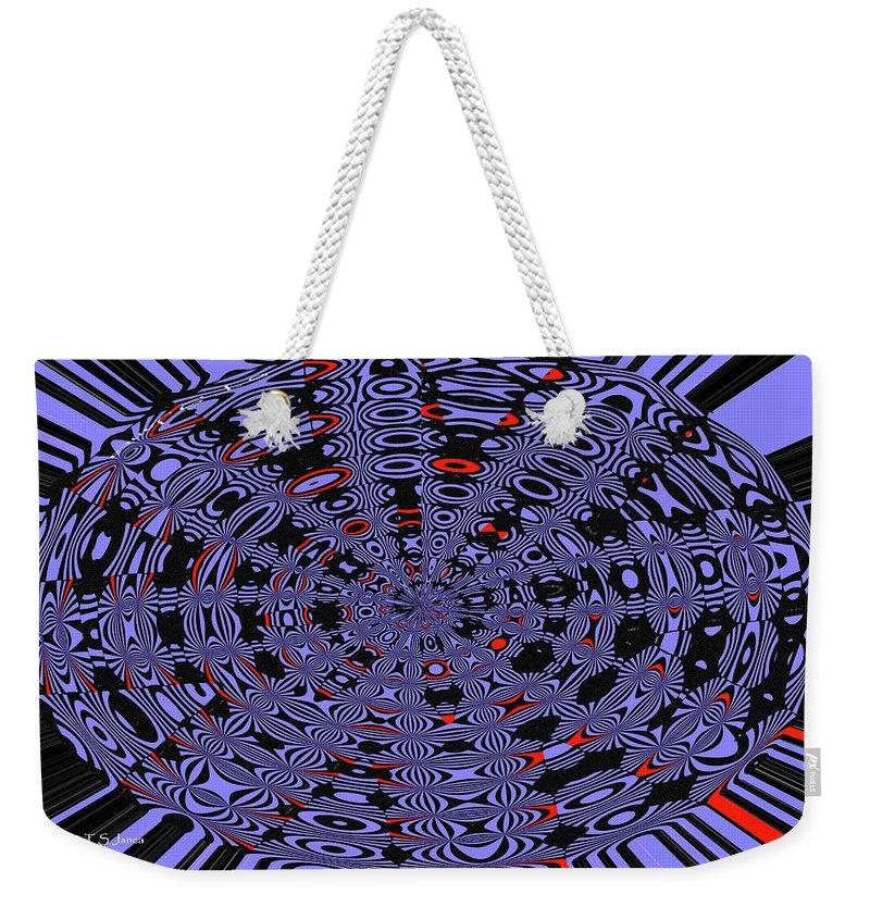 Blue Black Red Abstract Weekender Tote Bag featuring the digital art Blue Black Red Abstract by Tom Janca